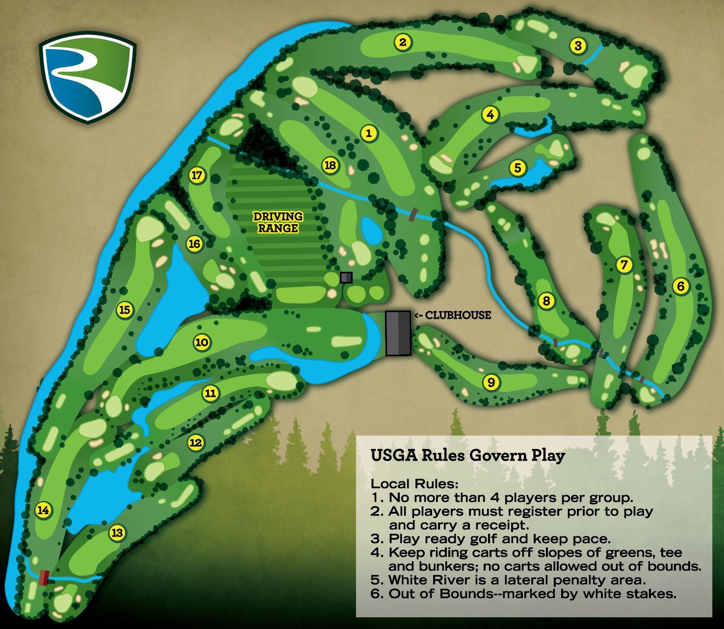 Course Layout River Glen Country Club Golf Course